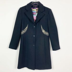 Via Spiga Wool Coat with Distressed Accents Size 6